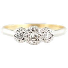 Art Deco Diamond Trilogy Ring in Star Settings c.1920