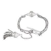 Antique Silver Bracelet with Tassel and T-bar