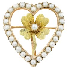 Antique Edwardian 9ct Gold Heart Brooch with Lucky Clover c.1901