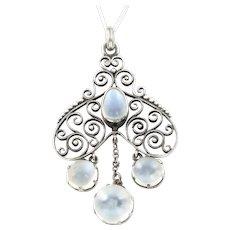 Art Nouveau Moonstone Pendant & Chain