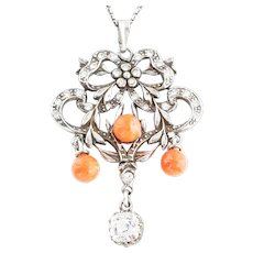 Antique Edwardian Silver Paste and Coral Pendant