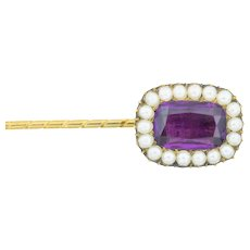 Victorian Amethyst Paste and Pearl Stick Pin- 9ct Gold Brooch Pin