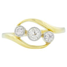 18ct Gold Art Deco Diamond Bypass Ring (0.30ct)- Art Deco Diamond Trilogy Ring c.1920