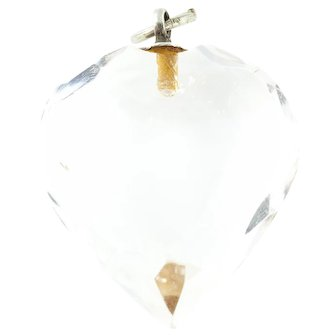 """Art Deco Rock Crystal Heart Pendant with 18"""" Chain c.1920"""