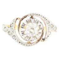 18ct Gold French Art Deco Diamond Ring (0.30ct) // Art Deco Diamond Swirl Ring