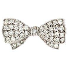 Art Deco Bow Brooch // Art Deco Silver Paste Brooch c.1930