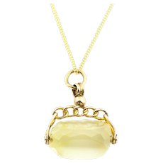 Dainty 9ct Gold Antique Citrine Fob Pendant, with Chain c.1901