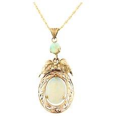 Art Nouveau 14ct Gold Opal Pendant with Chain c.1910