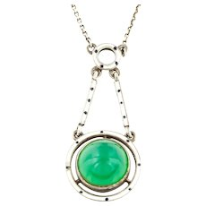 Fine Arts and Crafts Silver Chrysoprase Drop Necklace c.1890