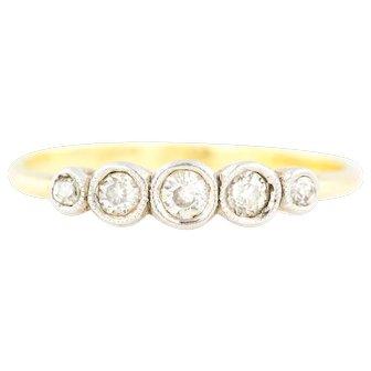 18ct Art Deco Five Stone Diamond Ring (0.29ct)