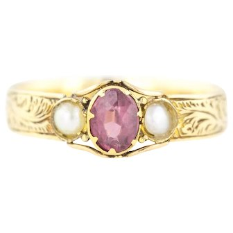 15ct Gold Garnet and Pearl Trilogy Ring - Victorian garnet Pearl Ring c.1856