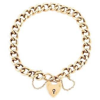 Antique 9ct Rose Gold Bracelet with Heart Padlock c.1900
