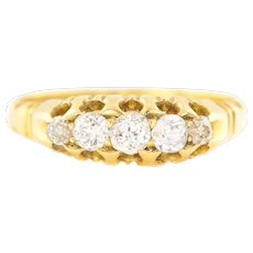 Antique 18ct Gold Five Stone Diamond Ring - 18ct Victorian 5 Stone Ring (0.30ct)