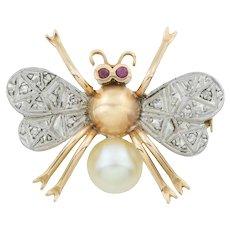 9ct Gold Art Deco Bug Brooch with Diamonds Rubies & Pearl
