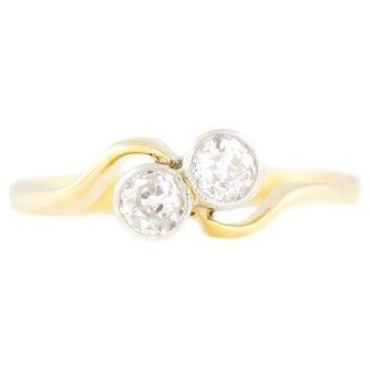 "18ct Gold Art Deco ""Toi Et Moi"" Diamond Engagement Ring (0.25ct) c.1920"