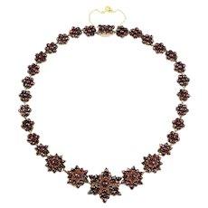 Antique Garnet Star Necklace - Victorian Garnet Necklace