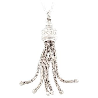 Antique Silver Tassel Charm Pendant
