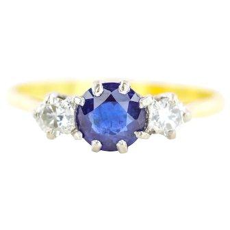 18ct Gold Art Deco Sapphire Diamond Trilogy Ring c.1920