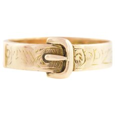 Antique 9ct Rose Gold Buckle Ring - Victorian 9ct Gold Buckle Ring c.1900