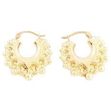 9ct Gold Vintage creole hoop Gypsy earrings