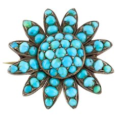 Victorian Turquoise Flower Brooch in Silver