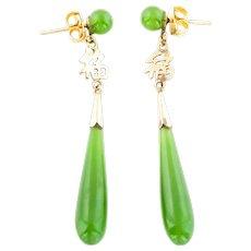 9ct Gold Art Deco Jade Drop Earrings