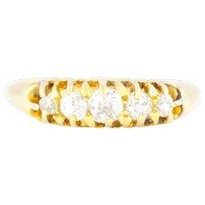 Antique Five Stone Diamond Boat Ring