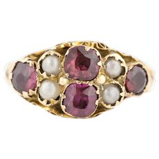 9ct Gold Edwardian Garnet and Pearl Ring c.1900