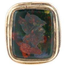 9ct Gold Victorian Bloodstone Intaglio Fob Pendant - Antique 9ct Gold Wax Seal Fob