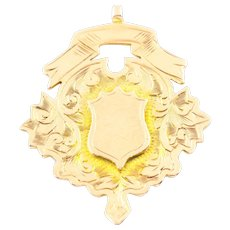 Edwardian 9ct Gold Medal Fob Pendant - England c.1911