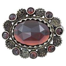 Victorian Silver Brooch with Rose Cut Garnet Glass