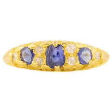 Antique Sapphire and Diamond Boat Ring c.1915