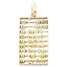 14ct Gold Vintage Abacus Charm Pendant with Chain c.1950