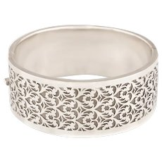 Victorian Sterling Silver Pierced Bangle