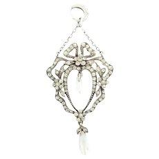 Edwardian Diamond Paste and Pearl Pendant