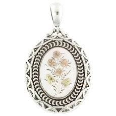 Large Victorian Silver Locket with Rose Gold and Yellow Gold Detail c.1882