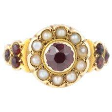18ct Gold Antique Garnet Ring - Antique Garnet Pearl Cluster Ring c.1840