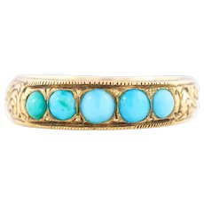 Victorian Five Stone Turquoise Ring in 9ct Rose Gold