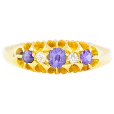 18ct Gold Edwardian Five Stone Ring with Sapphires and Diamonds
