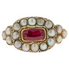 18ct Gold Georgian Ruby & Pearl Ring c.1820