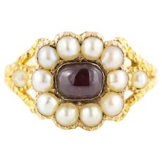 Georgian Pearl & Garnet Cabochon 15ct Gold Engraved Ring