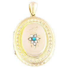 Antique Gold Locket with Turquoise and Natural Seed Pearls