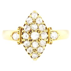 18ct Gold Rose Cut Diamond Ring - Antique Navette Diamond Ring c.1893