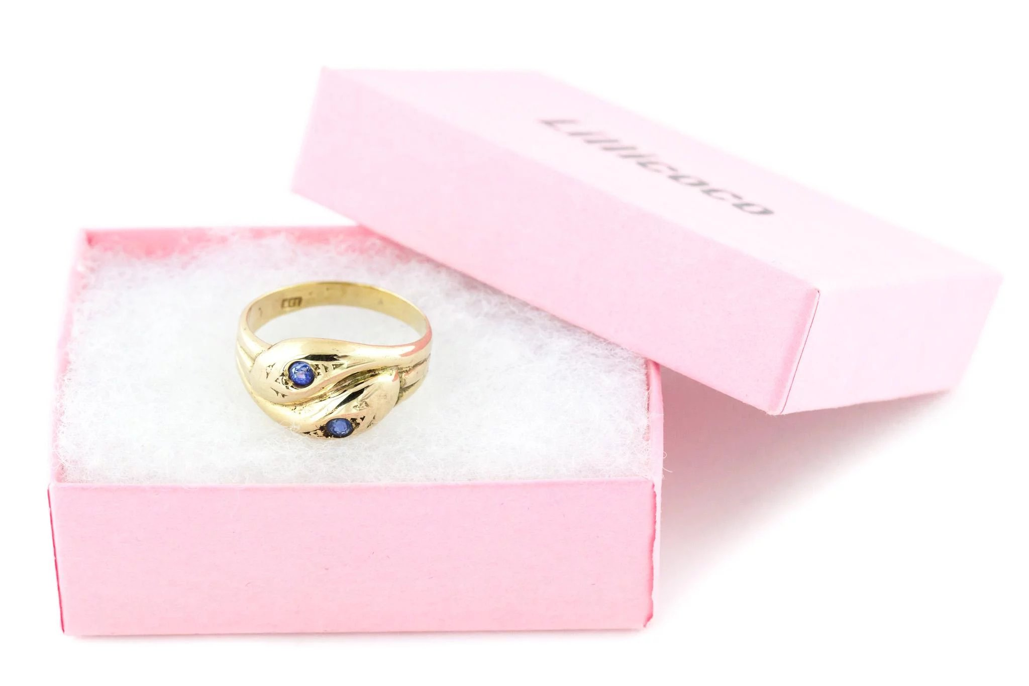 9ct Gold Vintage Snake Ring With Sapphires - Gold Double Snake Ring ...
