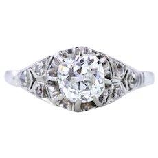 Superb Art Deco Diamond Solitaire Ring (0.87ct)