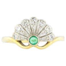 Rare 18ct Gold Art Deco Emerald and Diamond Fan Ring c.1920