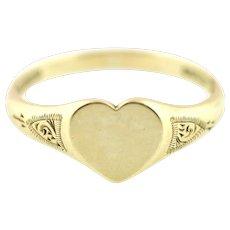 9ct Gold Vintage Heart Signet Ring c.1961