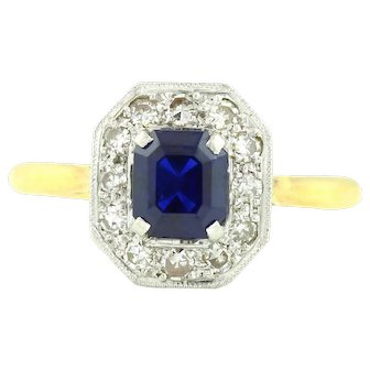 Art Deco 18ct Gold and Platinum Ring with a Sapphire and Diamond Cluster