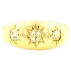 Victorian 18ct Gold Three Stone Diamond Gypsy Ring c.1863
