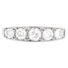 Art Deco Five Stone Diamond Ring in Platinum (1.0ct)